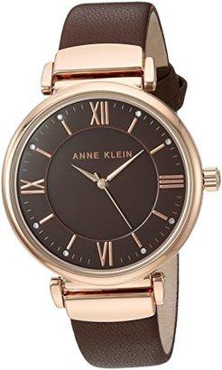 Anne Klein (アン クライン) - Anne Klein Women 's AK / 2666rgbnスワロフスキーCrystal Accentedローズゴールド調とブラウンレザーストラップウォッチ