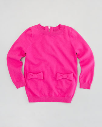 Milly Minis Bow Knit Pullover Sweater, Sizes 8-10