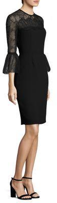 Carmen Marc Valvo Bell Sleeve Lace & Crepe Dress $680 thestylecure.com