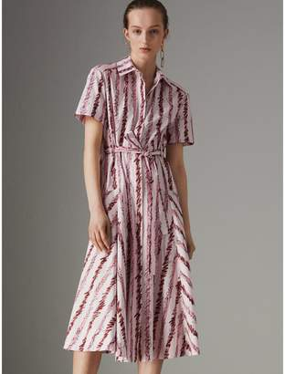 Burberry Scribble Stripe Cotton Shirt Dress , Size: 04, Pink
