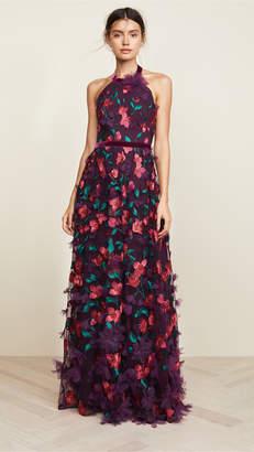 Marchesa Floral Degrade Halter Gown