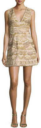 Alice + Olivia Sleeveless Embellished Silk Cocktail Dress, Light Yellow $1,395 thestylecure.com