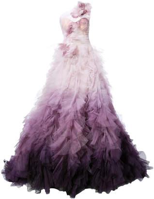 Marchesa one-shoulder ombré tulle gown