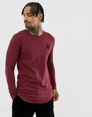 SikSilk long sleeve t-shirt in burgundy