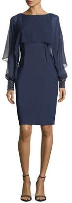 Rickie Freeman For Teri Jon Chiffon Bolero Beaded-Cuff Cocktail Sheath Dress