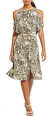 Jones New York Snake Print Matte Jersey Slit Dolman Sleeve Belted Dress $99.50 thestylecure.com