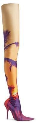 Balenciaga - Knife Over The Knee Boots - Womens - Orange Multi