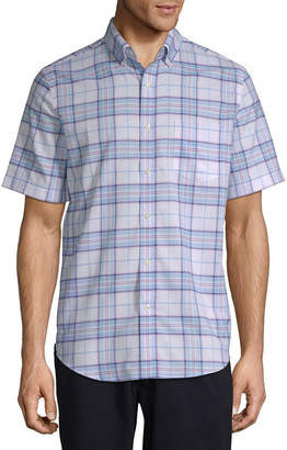 ST. JOHN'S BAY Mens Short Sleeve Grid Button-Front Shirt-Slim