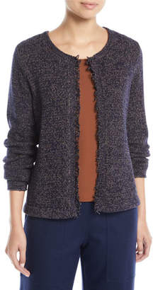 Eileen Fisher Fringed-Edge Round-Neck Cardigan