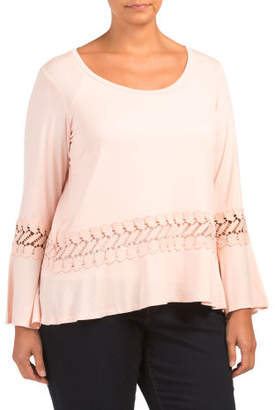 Plus Long Bell Sleeve Lace Inset Top