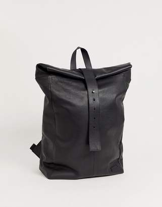 Asos Design DESIGN leather backpack in black with roll top and front strap