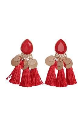 H&M Tasseled Earrings - Orange - Women
