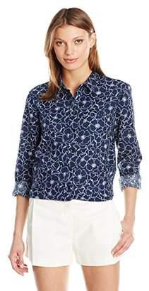 NYDJ Women's Linen Cotton Button Down Shirt