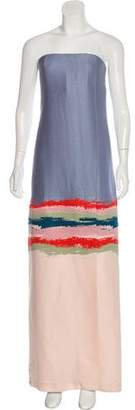 Tory Burch Embroidered Strapless Dress