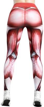 Jofemuho Women 3D Print Slim Muscle High Rise Sports Stretch Yoga Leggings Pants M