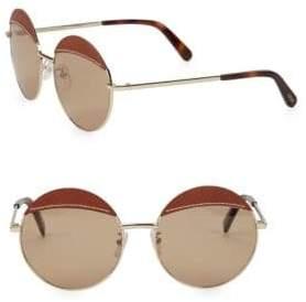 Loewe 58MM Leather Top Round Sunglasses