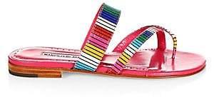 Manolo Blahnik Women's Susa Snakeskin Rainbow Stripe Flats