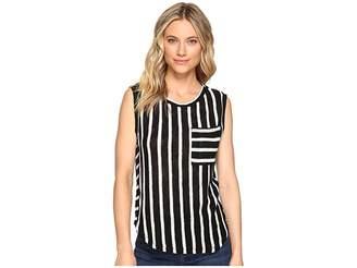 Splendid Stripe Loose Knit Pocket Tank Women's Sleeveless