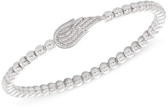 Wrapped Diamond (1/6 ct. t.w.) and Bead Angel Wing Stretch Bracelet in Sterling Silver, Created for Macy's