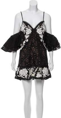 For Love & Lemons Embroidered Lace Mini Dress Black Embroidered Lace Mini Dress