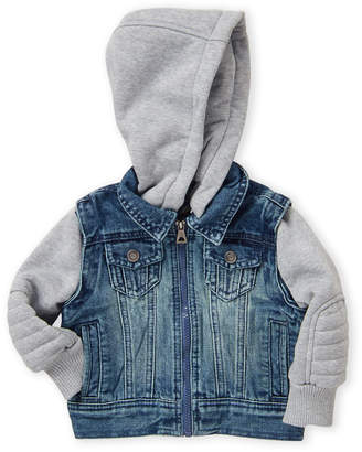 Urban Republic Infant Boys) 2fer Hooded Denim Jacket