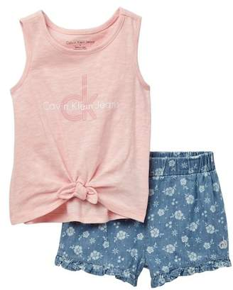 Calvin Klein Graphic Tie Front Tank Top & Printed Denim Shorts Set (Little Girls)