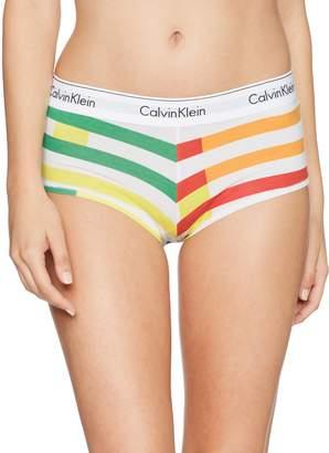 Calvin Klein Women's Modern Cotton Boyshort Panty, Grey Heather, XL