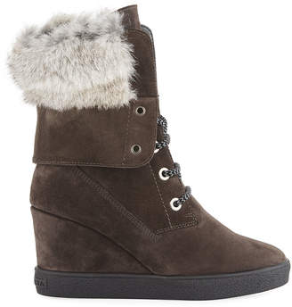 Aquatalia Cordelia High Wedge Boots w/ Fur Trim