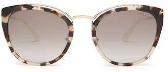 Prada Cat Eye Acetate And Metal Sunglasses - Womens - Multi