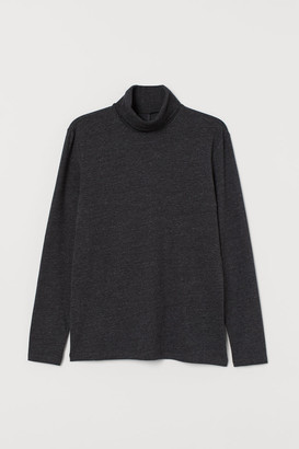 H&M Muscle Fit Turtleneck Shirt - Black