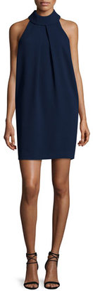 Trina Turk Sleeveless Pleated Mock-Neck Shift Dress, Indigo $258 thestylecure.com