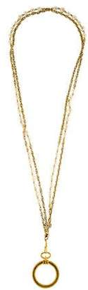 Chanel 1984 Magnifying Glass & Faux Pearl Chain Necklace