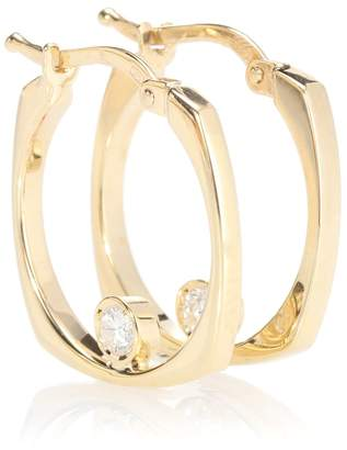 ALIITA Aro B 9kt gold hoop earrings with diamond