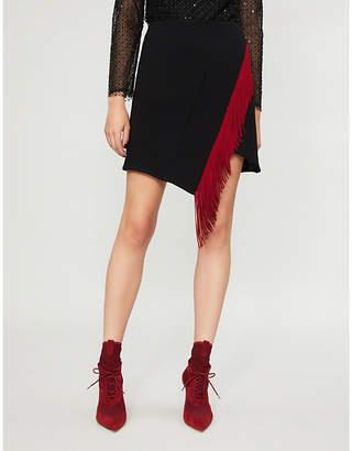 David Koma Fringe-trimmed wool-blend mini skirt
