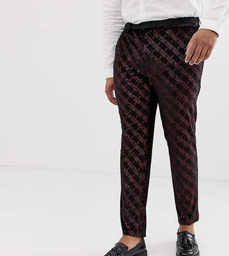Asos DESIGN Plus super skinny suit pants in velvet with red glitter design
