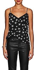 L'Agence Women's Jane Star-Print Silk Tank - Black