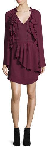 IROIro Salene Ruffle-Trim Mini Dress, Burgundy