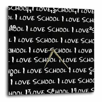 3dRose I Love School Chalkboard, Wall Clock, 10 by 10-inch