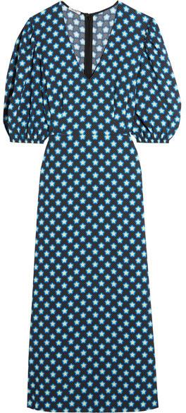 Miu MiuMiu Miu - Printed Crepe De Chine Midi Dress - Blue