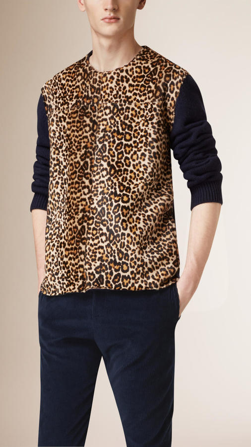 Burberry Prorsum Animal Print Shearling Detail Cashmere Sweater