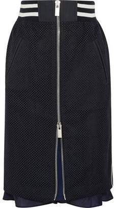 Sacai Satin-Trimmed Laser-Cut Prince Of Wales Checked Cotton-Jacquard Skirt