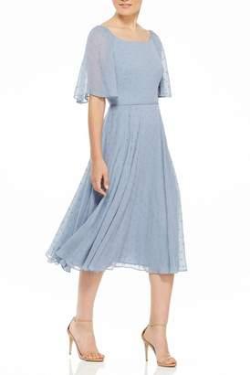 Gal Meets Glam Lila Bateau Neck Flutter Sleeve Midi Dress
