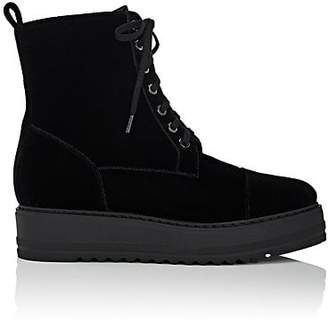 Barneys New York Women's Velvet Platform-Wedge Ankle Boots - Black