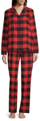 SLEEP CHIC Sleep Chic Notch Collar Flannel Pajama Set