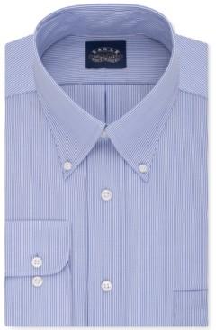 Eagle Men's Classic-Fit Stretch Collar Non-Iron Blue Stripe Dress Shirt