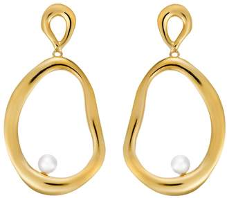 Ileana Makri EYE M by Large Flow Dangling Pearl Hoop Earrings