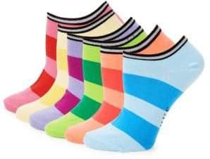Hue Six-Pack Stripe Liner Socks