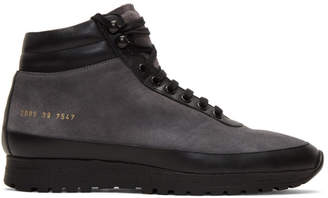 Robert Geller Black Common Projects Edition Suede Trekking High-Top Sneakers