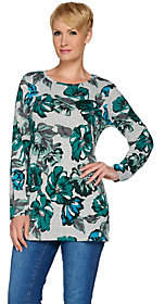Denim & Co. Long Sleeve Floral Printed RoundNeck Tunic
