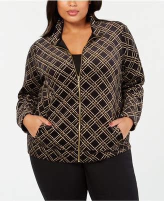 Karen Scott Plus Size Velour Plaid Jacket